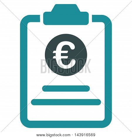 Euro Prices Pad icon. Vector style is bicolor flat iconic symbol with rounded angles, soft blue colors, white background.