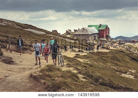 Hikers At Babele Chalet, Romania