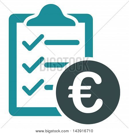 Euro Purchase Pad icon. Vector style is bicolor flat iconic symbol with rounded angles, soft blue colors, white background.