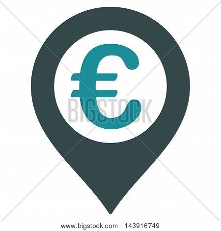 Euro Pushpin icon. Vector style is bicolor flat iconic symbol with rounded angles, soft blue colors, white background.