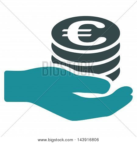 Euro Salary icon. Vector style is bicolor flat iconic symbol with rounded angles, soft blue colors, white background.