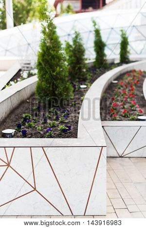Facade flowerbeds decorated modern building panels selective focus