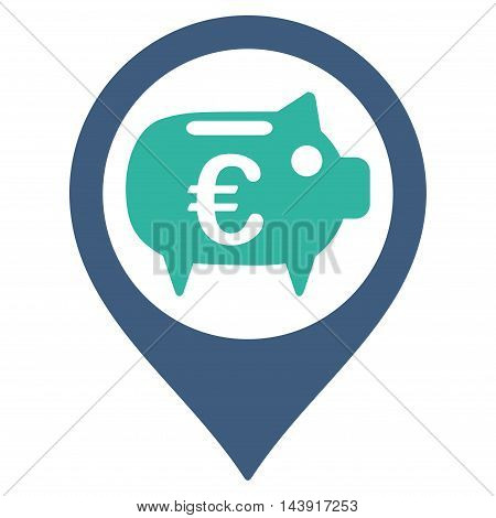 Euro Bank Pointer icon. Vector style is bicolor flat iconic symbol with rounded angles, cobalt and cyan colors, white background.