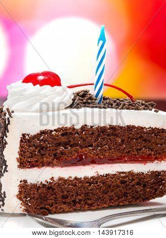 Chocolate Birthday Cake Represents Celebrate Slice And Desserts