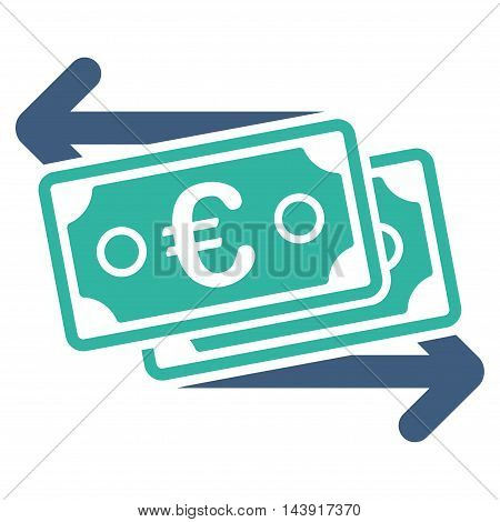 Euro Banknotes Change icon. Vector style is bicolor flat iconic symbol with rounded angles, cobalt and cyan colors, white background.
