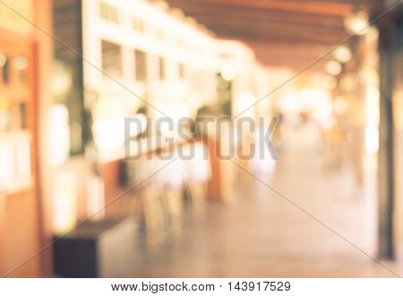 Blur Background, Outdoor Shopping Center With Bokeh Light