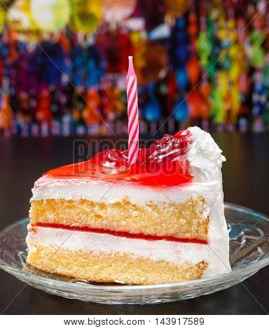 Sliced Birthday Cake Indicates Delicious Yummy And Piece