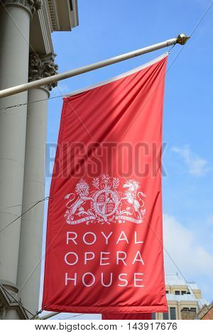 Covent Garden London England United Kingdom - August 16 2016: Red Flag of Royal Opera House
