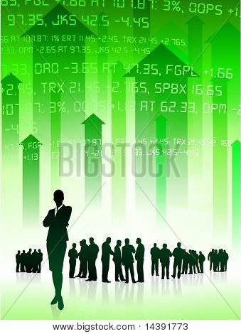 Business Team on Green Stock Market Background Original Vector Illustration