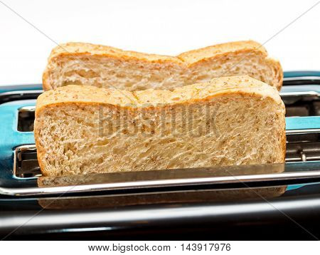 Bread Toaster Indicates Morning Meal And Break