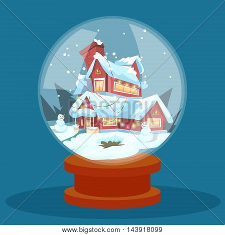 Wish Glass Ball Christmas Eve Holiday House Winter Snow Greeting Card Flat Vector Illustration