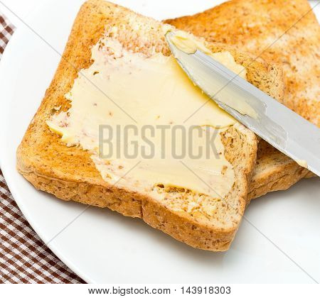Bread With Butter Represents Morning Meal And Break