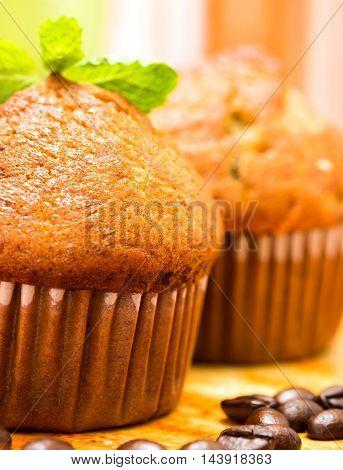 Fresh Muffins Represents Cupcake Tasty And Dessert