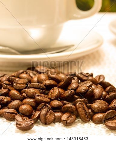 Roasted Coffee Bean Means Hot Drink And Aromatic