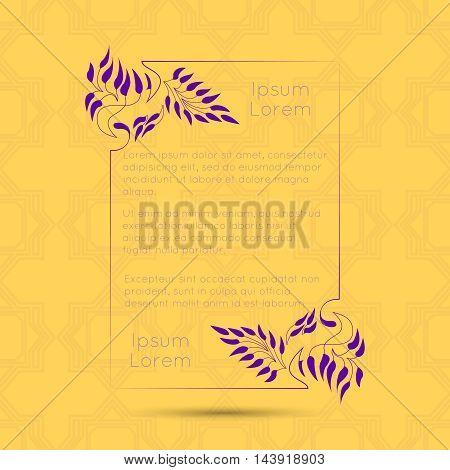 Border designs for greeting cards. Template design for invitation, menu, labels, poem writing. Vintage concept.