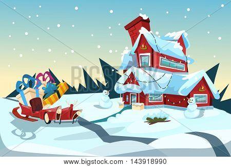 Santa Claus Sleigh Near House Christmas Celebration New Year Greeting Card Flat Vector Illustration