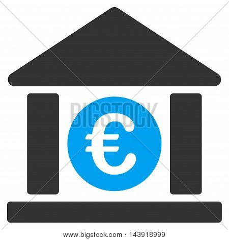 Euro Bank Building icon. Glyph style is bicolor flat iconic symbol, blue and gray colors, white background.