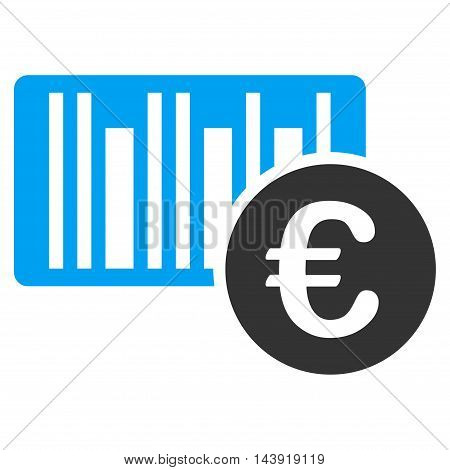 Euro Bar Code Price icon. Glyph style is bicolor flat iconic symbol, blue and gray colors, white background.