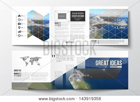 Vector set of tri-fold brochures, square design templates with element of world map. Colorful polygonal backdrop, blurred background, sea landscape, modern triangle vector texture.