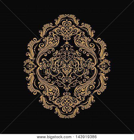 Premium gold vintage baroque frame scroll ornament engraving border floral retro pattern antique style acanthus foliage swirl decorative design element filigree calligraphy - vector