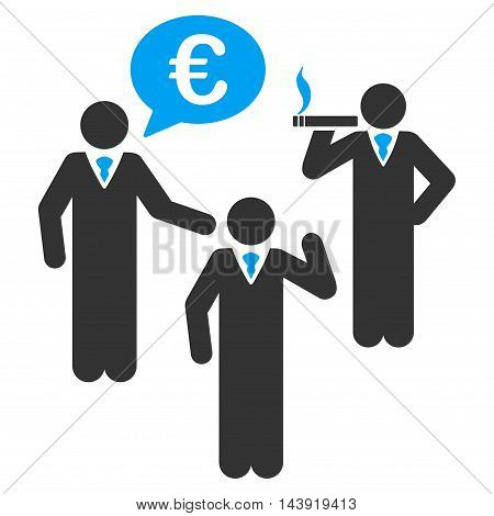 Euro Discuss People icon. Glyph style is bicolor flat iconic symbol, blue and gray colors, white background.