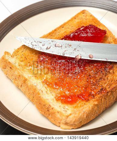 Jam On Toast Shows Meal Time And Break