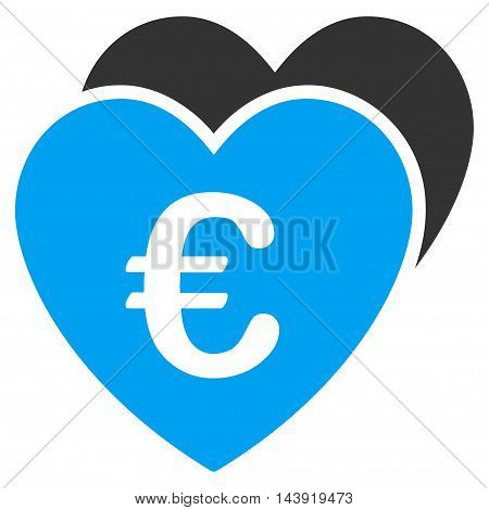 Euro Favorites Hearts icon. Glyph style is bicolor flat iconic symbol, blue and gray colors, white background.