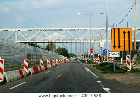 Lithuania - July 31 2016: Road works on the route of Lithuania