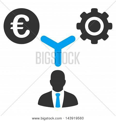 Euro Financial Development icon. Glyph style is bicolor flat iconic symbol, blue and gray colors, white background.