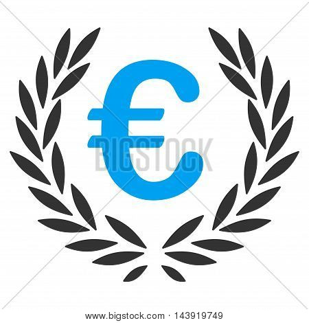 Euro Laurel Wreath icon. Glyph style is bicolor flat iconic symbol, blue and gray colors, white background.