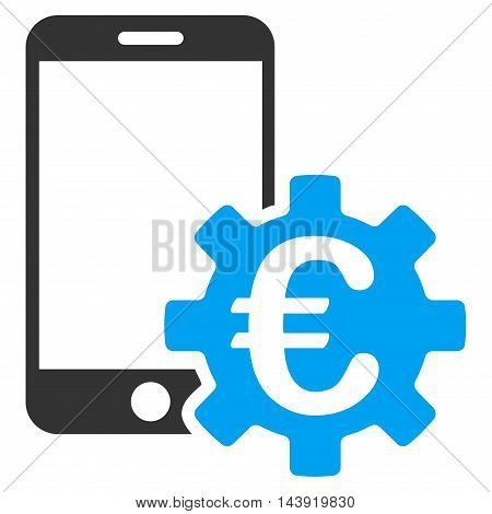 Euro Mobile Bank Configuration icon. Glyph style is bicolor flat iconic symbol, blue and gray colors, white background.