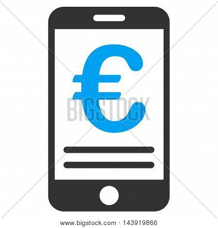 Euro Mobile Banking icon. Glyph style is bicolor flat iconic symbol, blue and gray colors, white background.