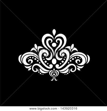 Vector stylized adornment decoration foliage print oriental floral design