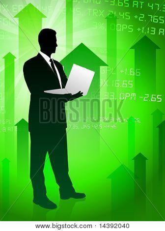 Businessman on Green Stock Market Background Original Vector Illustration
