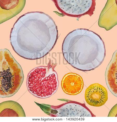 Exotic fruits:kiwi, coconut, papaya, pomegranate, dragon eye, orange, avocado. Watercolor seamless pattern.