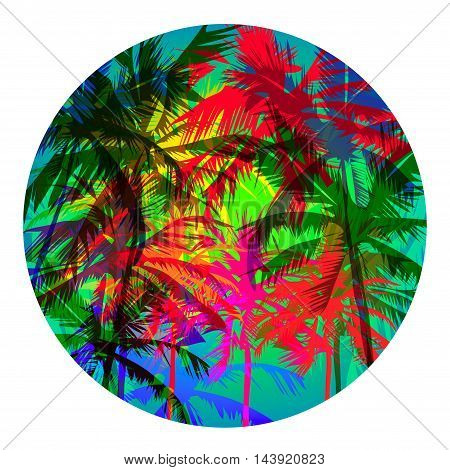 Round abstract vector tropical background with palm trees