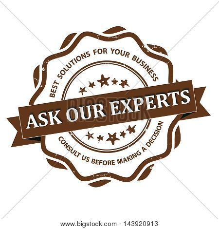 Ask our experts - grunge brown consultancy label for businesses. Print colors used