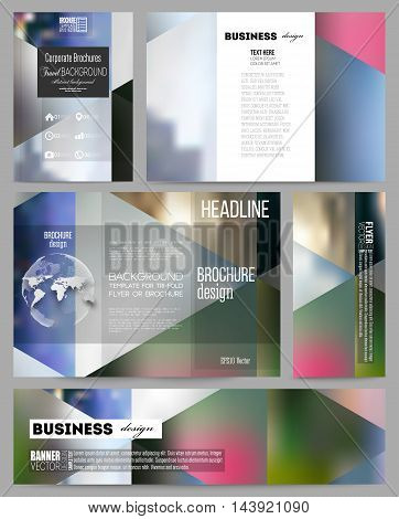 Set of business templates for presentation, brochure, flyer or booklet. Abstract multicolored background, blurred nature landscapes, geometric vector, triangular style illustration.