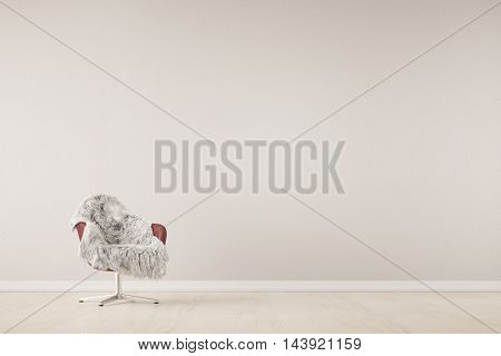Chair with fur in front of wall in a living room (3D Rendering)