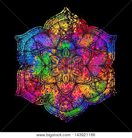 colorful psychedelic mandala on a black background