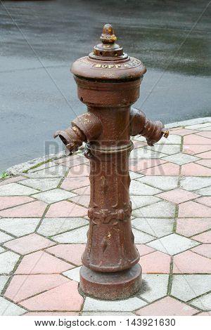 Zelenogradsk Russia - August 1 2016: Brown retro water pump in Zelenogradsk