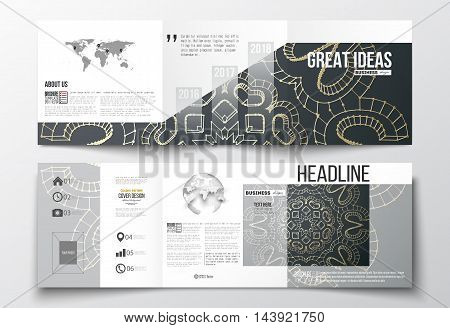Set of tri-fold brochures, square design templates with element of world map and globe. Polygonal backdrop with golden connecting dots and lines, connection structure. Digital scientific background