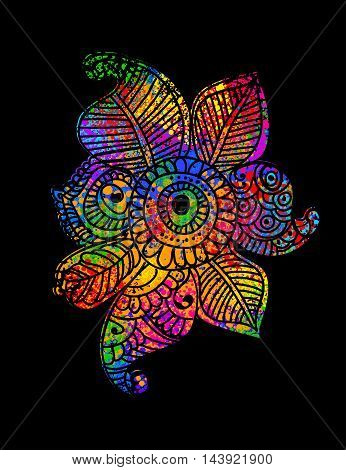 Multicolored Bright decorative element Henna Paisley Mehndi on black background. Black contour. Hand drawn vector illustration