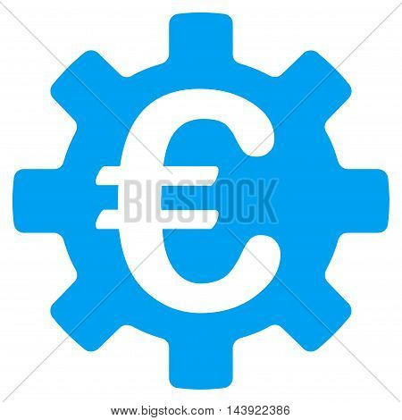 Euro Machinery Gear icon. Glyph style is flat iconic symbol, blue color, white background.