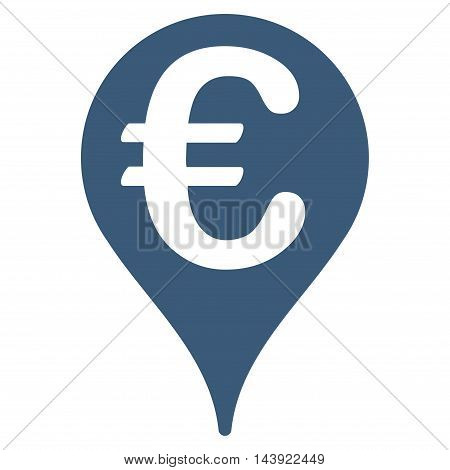 Euro Map Pointer icon. Glyph style is flat iconic symbol, blue color, white background.