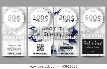 Set of modern gift voucher templates. Back to school background with letters made from halftone dots, cartoon explosion in pop-art style on notebook paper, vector illustration.