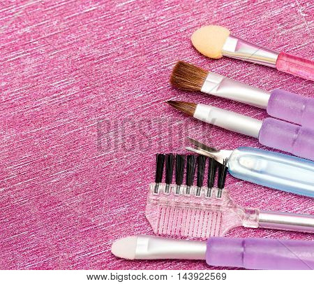Different Makeup Brushes Represents Beauty Product And Cosmetic