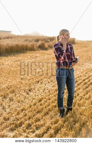 Modern female farmer with tablet on her wheat field