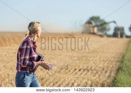 Female farmer using digital tablet in the wheat field