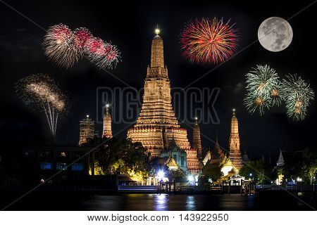 Wat arun under new year celebration time at full moon night Thailand